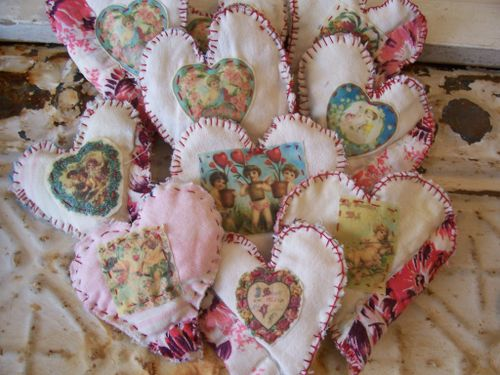 Aromatherapy folk hearts - back